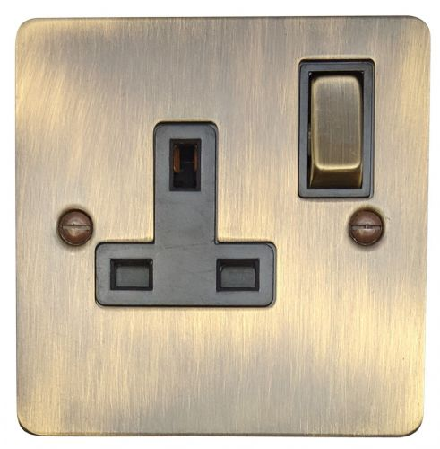 G&H FAB309 Flat Plate Antique Bronze 1 Gang Single 13A Switched Plug Socket